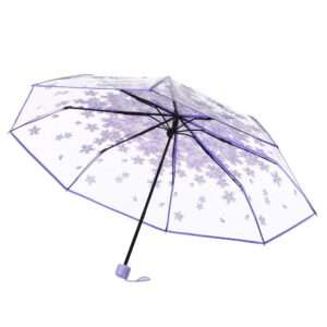 purple transparent umbrella.