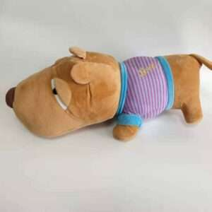 Dog soft doll with dress blue