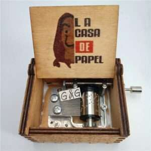 La Casa De Papel Bella Ciao Hand Cranked wooden Music Box