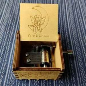 Fly Me To The Moon Hand Cranked Wooden Music Box